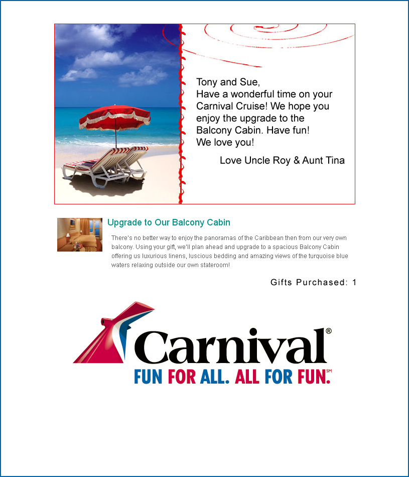 carnival cruise gift card carnival honeymoon registry 8565